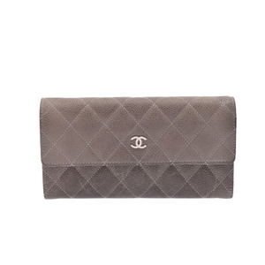 Chanel Long Fastener Wallet Caviar Leather Long Wallet (bi-fold) Gray