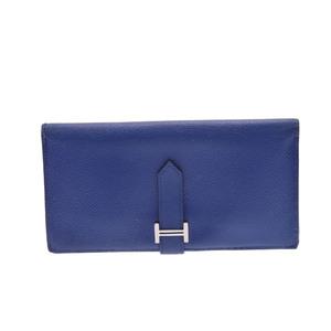 Hermes Bearn Soufflet Epsom Leather Bag Blue