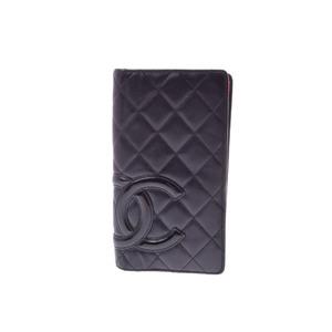 Second-hand Chanel Kanbon Line 2 Fold Purse Lambskin Black