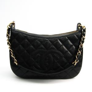 Chanel Women's Caviar Leather Shoulder Bag Black
