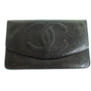 シャネル(Chanel) キャビアスキン Caviar Skin 2つ折り長財布