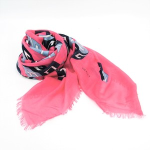 Gucci Women's Silk,Rayon Stole Geometric Blue,Pink,White Cubo 464689