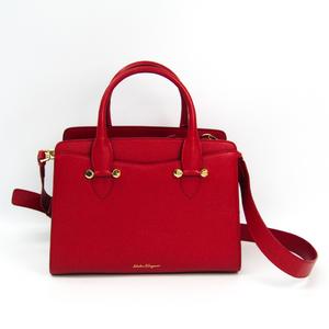 Salvatore Ferragamo Today 21 G925 Women's Leather Handbag Red
