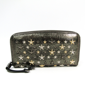 Jimmy Choo FILIPA Metallic Mix Star Studs Women's Leather Long Wallet (bi-fold) Dark Gray