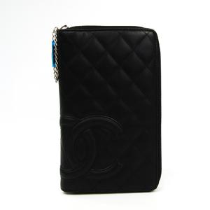Chanel Cambon A26710  Calfskin Long Wallet (bi-fold) Black