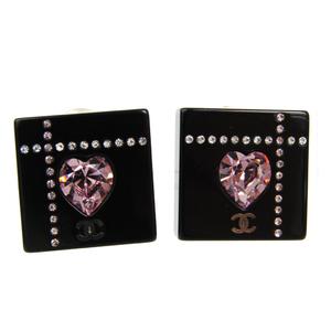 シャネル(Chanel) ココ メタル,プラスチック,ラインストーン クリップイヤリング ブラック スクエア ハートストーン