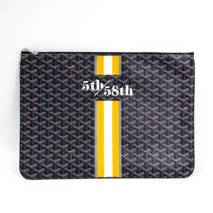 Goyard Senat GM Men's Canvas,Leather Clutch Bag,Document Case Navy,Yellow