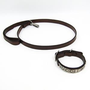 グッチ(Gucci) 犬 首輪&リードセット レザー メタル ブラウン 027633