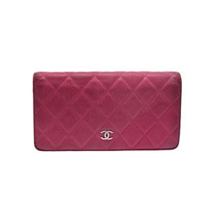 シャネル(Chanel) マトラッセ ガールズ,レディース  キャビアスキン 財布 ピンク