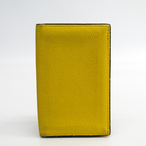 Valextra Leather Business Card Case Yellow V8L03