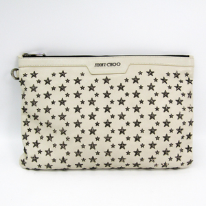Jimmy Choo DEREK Men's Leather Clutch Bag Ivory