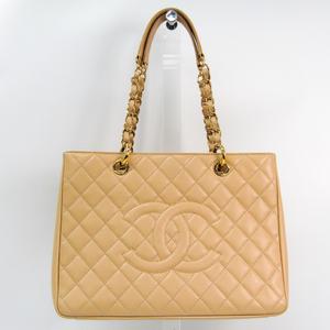 シャネル(Chanel) キャビア・スキン グランド・ショッピング トート GST A50995 レディース レザー ショルダーバッグ ベージュ