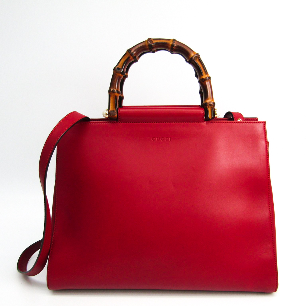 Details about Gucci Bamboo Nymphaea Medium 453766 Leather Tote Bag Red  BF327006