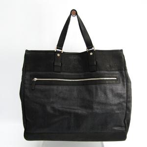 Salvatore Ferragamo 24 7535 Men's Coated Canvas,Leather Tote Bag Black