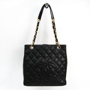 シャネル(Chanel) キャビア・スキン プチ ショッピング トート PST A20994 レザー トートバッグ ブラック