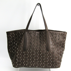 Jimmy Choo Pimlico Men's Leather Studded Tote Bag Charcoal Gray