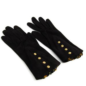 Hermes Sellier Women's Short Gloves Black Suede,Silk Pleated scarf 6 1/2