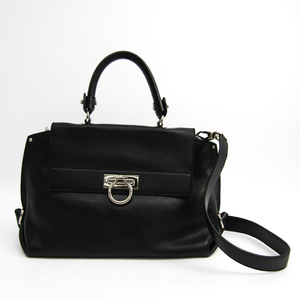 Salvatore Ferragamo Gancini Medium Sophia 21 A896 Women's Leather Handbag Black