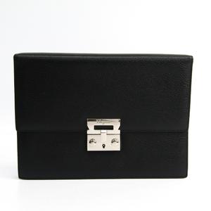 Salvatore Ferragamo Gancini AU-24 9502 Men's Leather Clutch Bag Black