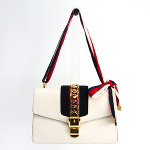 Gucci Sylvie 421882 Women's Leather,Webbing Shoulder Bag Navy,Red,Off-white