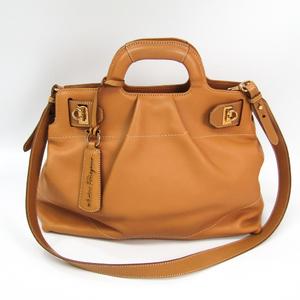 Salvatore Ferragamo Gancini AB-21 C537 Women's Leather Handbag Light Camel