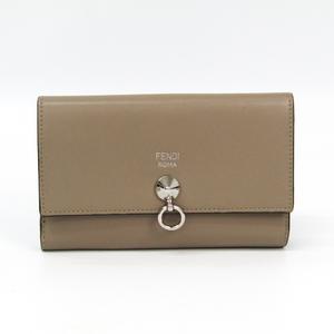 フェンディ(Fendi) 8M0383 レディース  カーフスキン 中財布(二つ折り) グレーベージュ