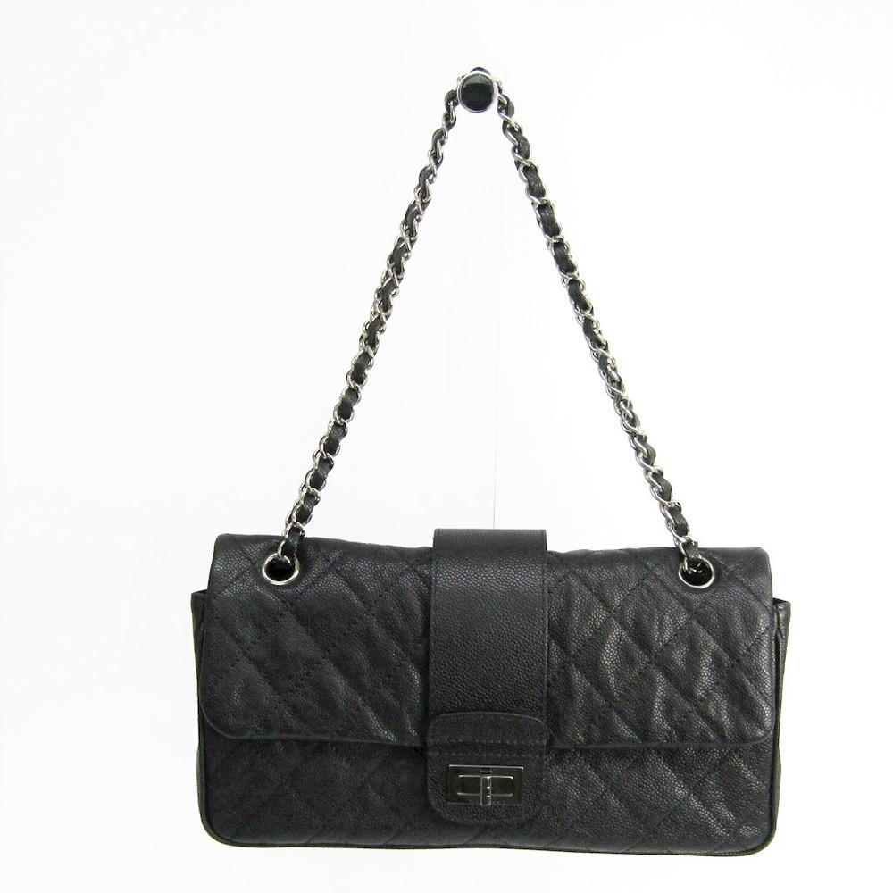 シャネル(Chanel) マトラッセ 2.55 レディース キャビアスキン ショルダーバッグ ブラック