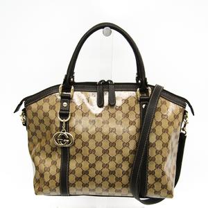 cf725303862d Gucci GG Crystal 341503 GG Crystal,Leather Handbag Beige,Brown