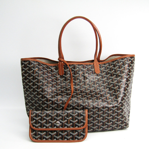 Goyard Saint Louis Saint Louis PM Women's Leather,Canvas Tote Bag Black,Brown
