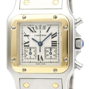 【CARTIER】カルティエ サントス ガルベ LM クロノリフレックス K18 ゴールド ステンレススチール クォーツ メンズ 時計 W20042C4