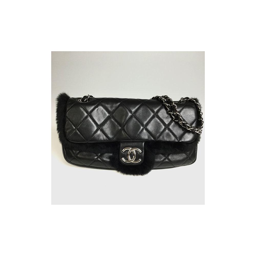 bb30732e0bc0 シャネル(Chanel) マトラッセ ラムスキン レディース ファー チェーンショルダーバッグ ブラック