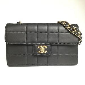 シャネル(Chanel) チョコバー チェーンショルダーバック ラムスキン レディース レザー ブラック