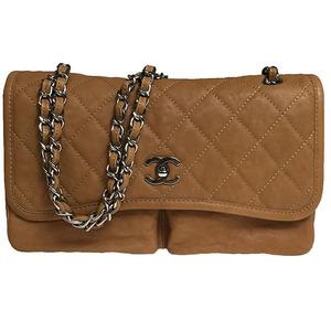 シャネル(Chanel) マトラッセ ソフトラムスキン レディース チェーンショルダーバッグ ブラウン