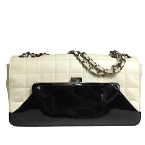 Chanel Chocolate Bar lambskin patent leather Women's Chain Shoulder Bag Black White
