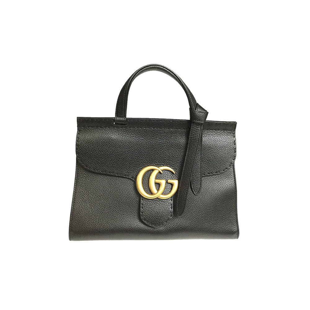 7de24046162 Gucci GG Marmont 421890 Women s Leather Handbag Shoulder Bag Black