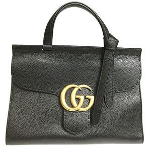 グッチ(Gucci) GGマーモント 421890 レディース レザー ハンドバッグ ショルダーバッグ ブラック