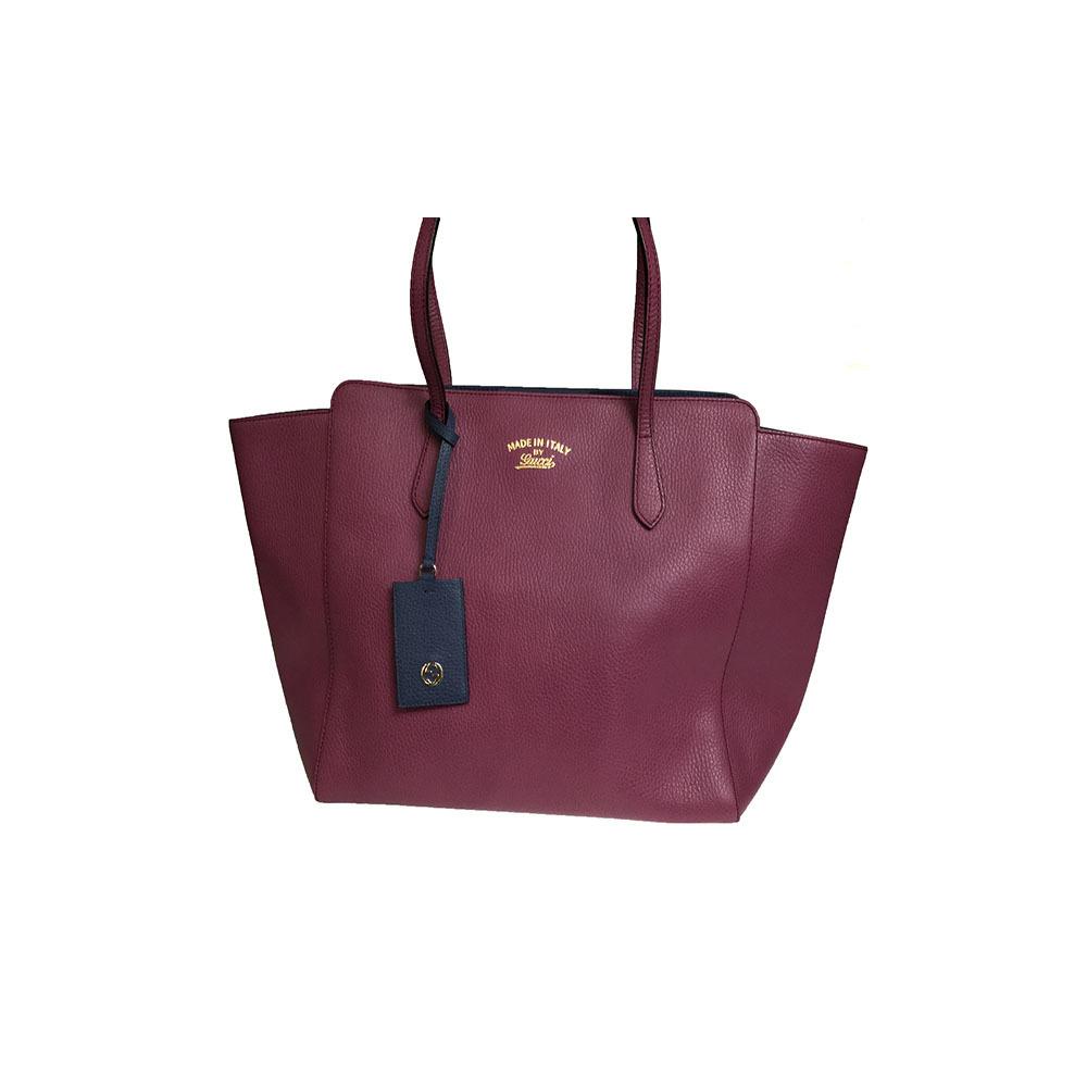 198935e31408de Gucci Gucci Swing 354397 Women's Leather Tote Bag Navy Purple