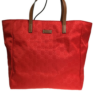 Gucci GG Canvas 282439 Women's Nylon Handbag Tote Bag Red