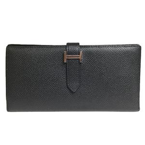 エルメス ベアン スフレ □R刻印 エプソン 長財布(二つ折り) ブラック,シルバー