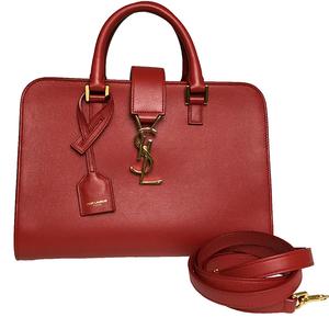 Saint Laurent 372087 Baby Cabas Women's Leather Handbag,Shoulder Bag Red