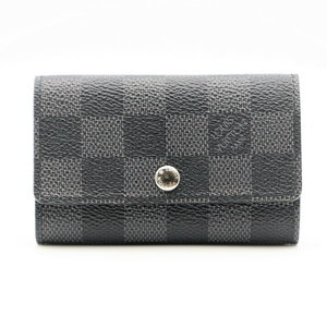 Louis Vuitton Damier Graphite Men's Damier Graphite Key Case Damier Graphite 6 Key Holder N62662