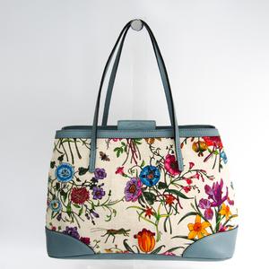 Gucci Flora Japan Shop 50th Collection 358470 Women's Canvas,Leather Tote Bag Blue,Multi-color