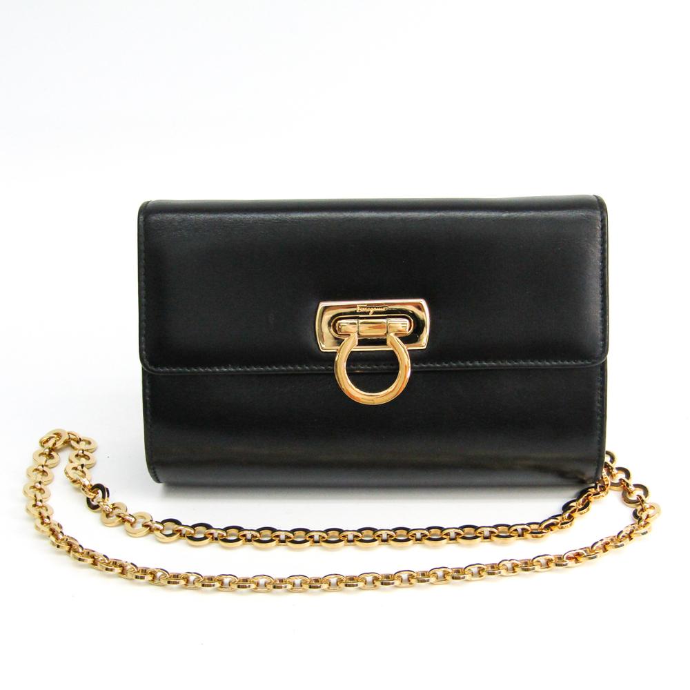 Salvatore Ferragamo Gancini AQ-217234 Women s Leather Shoulder Bag Black 4a8d4cd114