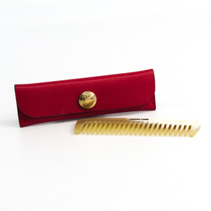 Hermes Buffalo Horn Leather Accessory Beige,Red Etui Penns New Eve Pay Necked Comb