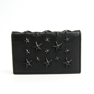 Jimmy Choo Leather Business Card Case Black NELLO