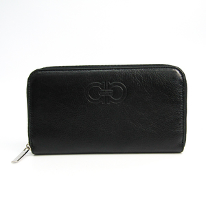 Salvatore Ferragamo Gancini 22 B575 Women's  Calfskin Long Wallet (bi-fold) Black
