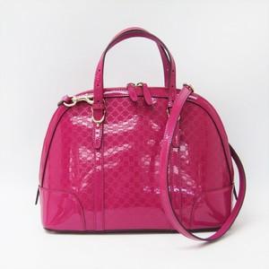 グッチ(Gucci) マイクログッチッシマ ニース 309617 レディース パテントレザー ハンドバッグ ピンク