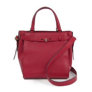 Valextra V5C67 B Cube Women's Leather Handbag Red