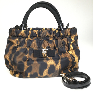 Salvatore Ferragamo Vara 21C793 Leopard print Women's Nylon Handbag,Shoulder Bag Black,Brown