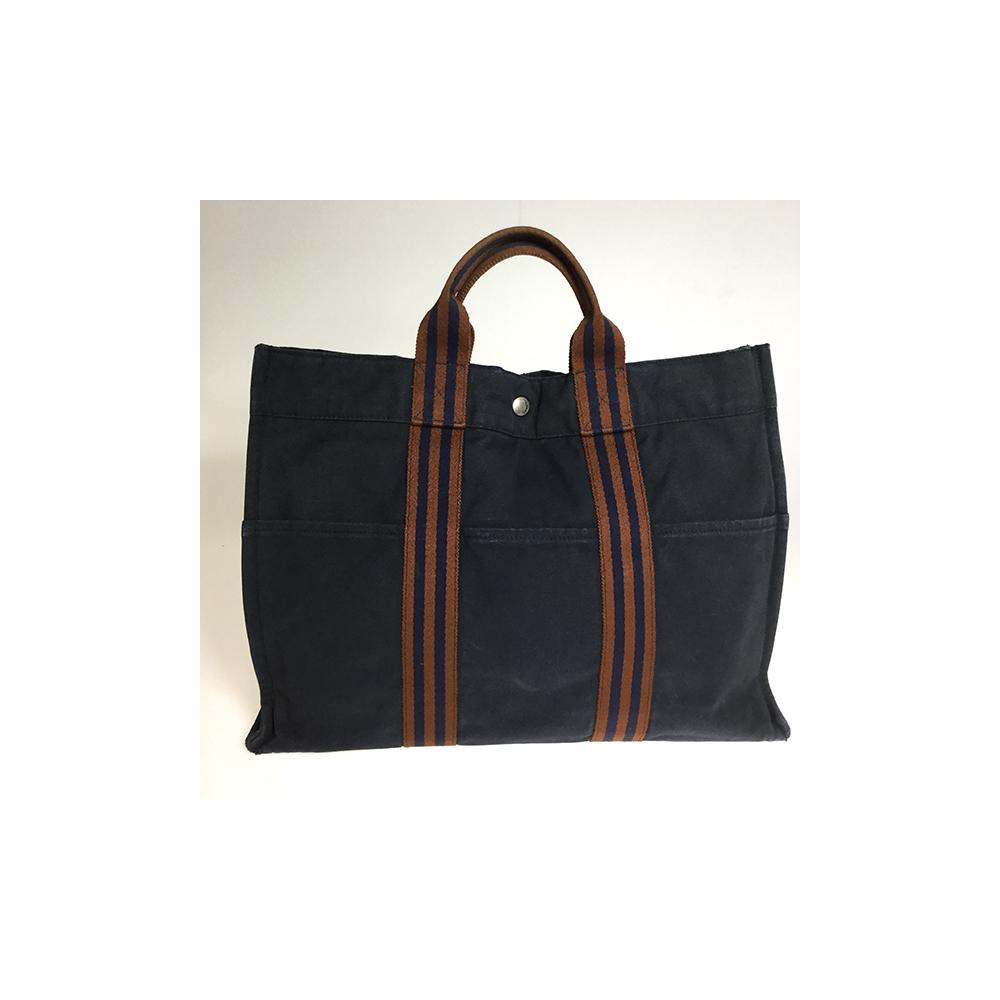 Hermes Fourre Tout MM Unisex Canvas Tote Bag Navy Brown